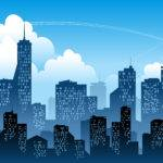 Blue City Silhouette Vector Material Eps Format Sky Tall