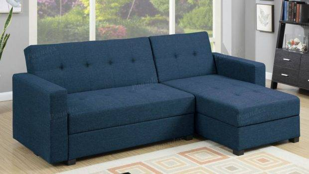 Blue Fabric Sectional Sofa Bed Steal Furniture