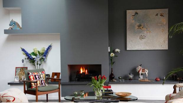 Blue Slate Accent Color Does Wonders Fireplace Wall
