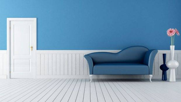 Blue Sofa Walls White Door