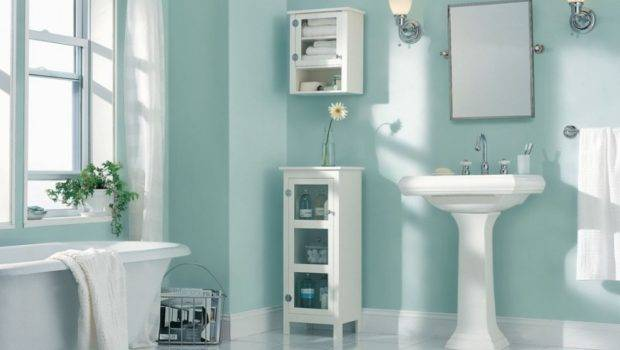 Blue Wall Paint Also Pedestal Sink Feat Trendy Cabinet Design Claw