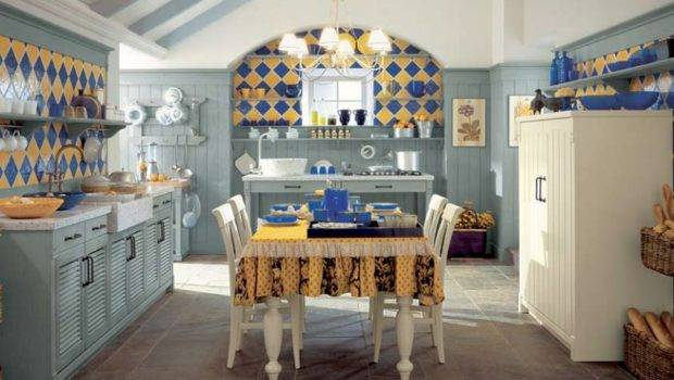 Blue Yellow Tile Country Kitchen