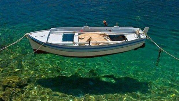 Boat Floating Crystal Clear Water Pics