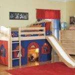 Bolton Kids Cottage Loft Bed Slide Blue Red Natural