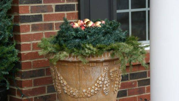 Both Sides Front Door Placed Two Little Trees Urns