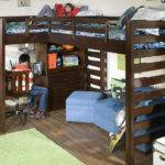 Boys Room White Orange Wall Single Bunk Bed Study Space