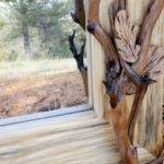 Branches Decorating Pine Wood Carved Mirror Elegant Environment Home