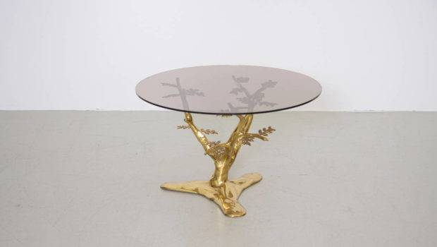 Brass Tree Sculpture Coffee Table Round Glass Top Sale