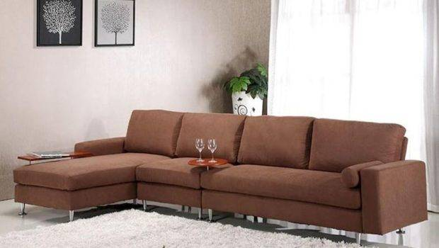 Brown Fabric Sectional Sofa Ottoman Contemporary