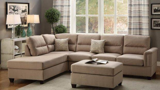 Brown Fabric Sectional Sofa Ottoman Steal