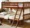 Brown Pine Twin Over Bunk Bed Beds