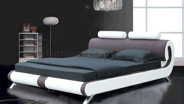 Brown White Leatherette Modern Bed Curved Headboard Shbs