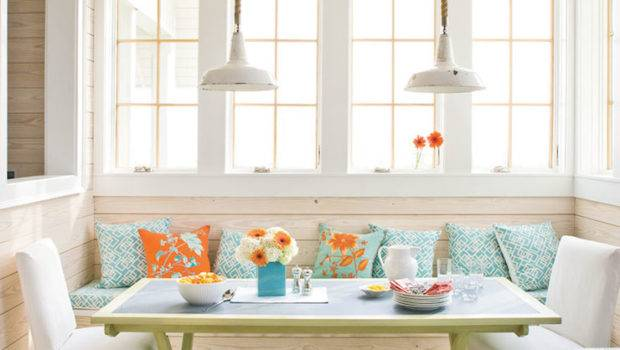 Built Banquette Cottage Dining Room Tracery Interiors