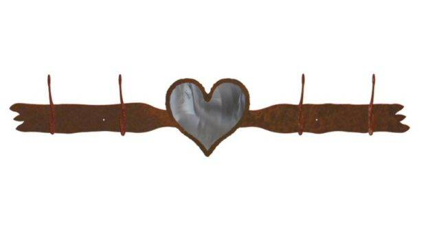 Burnished Heart Four Hook Metal Wall Coat Rack