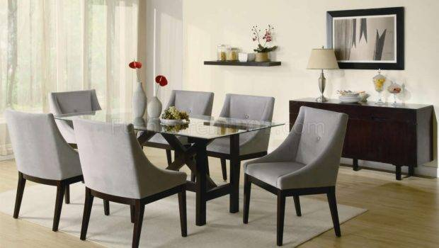 Cappuccino Finish Glass Top Modern Dining Table Optional Items Crds