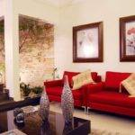 Captivating Red Sofa Wall Hangings Living Room Design Small