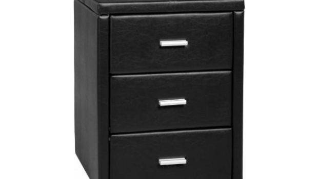 Cheap New Leather Prado Drawer Storage Bedside Table Black Brown