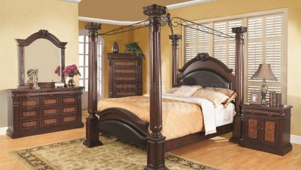 Cherry Finish Traditional Canopy Bed Options Crbs Grand Prado