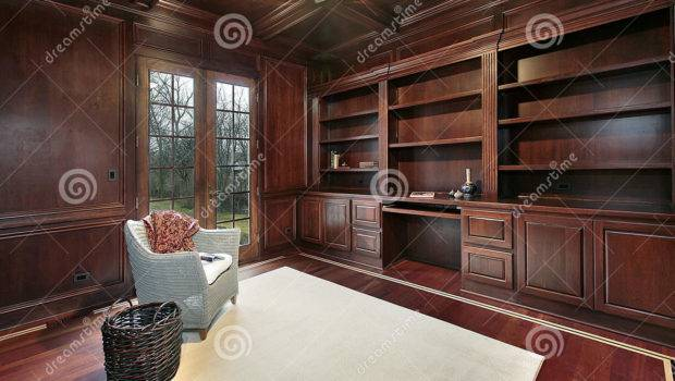 Cherry Wood Paneling Library