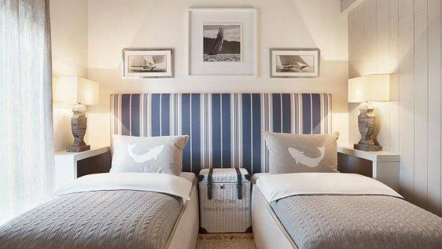 Chi Cottage Boys Bedroom Features Pair Skirted Beds Dressed