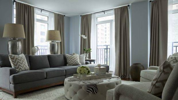 Chic Gray Blue Living Room Walls Paint Color