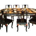 Chinese Asian Furniture Lacquer Mother Pearl Dining Table Set