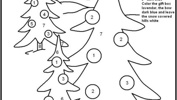 Christmas Color Numbers Best Coloring Pages Kids