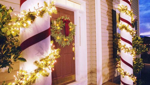 Christmas Lights Decorating Columns Front House