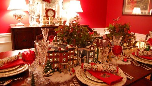 Christmas Table Setting Tablescape Dept Lit Houses Lenox