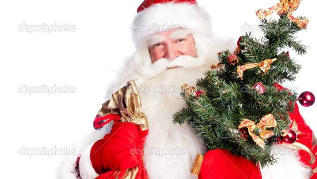 Christmas Theme Santa Claus Holding Tree His Bag