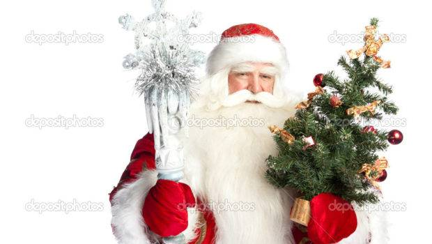 Christmas Theme Santa Claus Holding Tree Staff