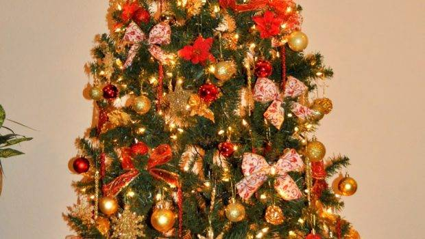 Christmas Trees Decorated Red Gold Happy Holidays