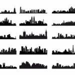 City Skyline Landscape Silhouette Vector Set Graphics