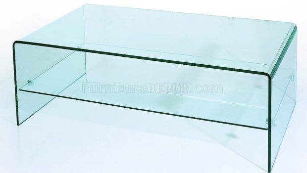 Clear Tempered Contemporary Glass Coffee Table Bhct