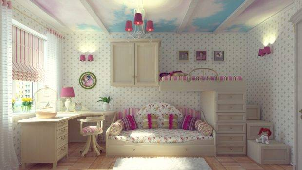 Cloud Ceiling Mural Girls Room Interior Design Ideas