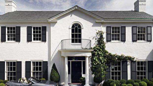 Colonial Style Home White Brick Exterior Gray Tiled Roof