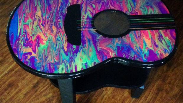 Colorful Glow Dark Guitar Accent Table