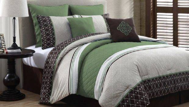 Comforter Set Green Masculine Pillows Skirt Shams Brown White Bedding