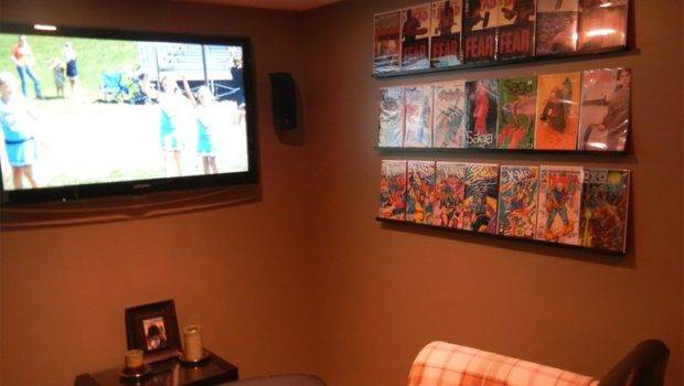 Comic Book Shelves Made Using Crown Molding Brackets Ebony