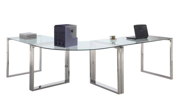 Computer Desk Table Clear Glass Stainless Steel Modern