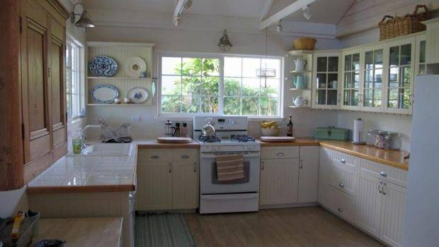 Considerable Green Painted Wooden Kitchen Cabinets Checkered Flooring