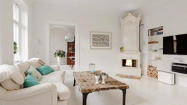 Contemporary Antique Mix White Swedish Apartment Home Decorating