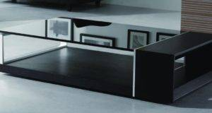 Contemporary Coffee Table Black Glass Top Monte California