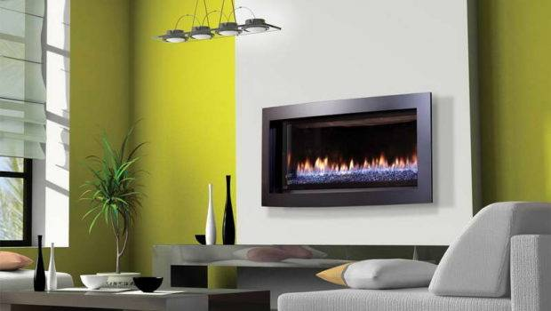 Contemporary Gas Fireplace Design Green Walls Fireplaces