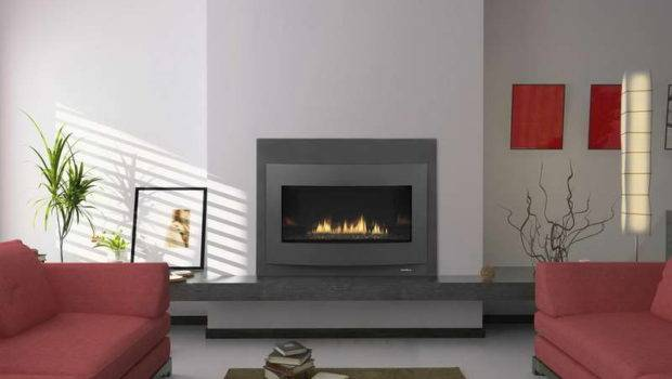 Contemporary Gas Fireplace Design Red Sofa Fireplaces Modern