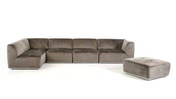 Contemporary Grey Fabric Sectional Sofa
