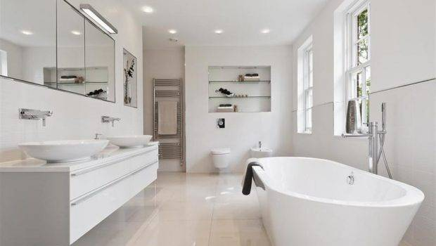 Contemporary Minimalist Modern White Bathroom Freestanding Bath