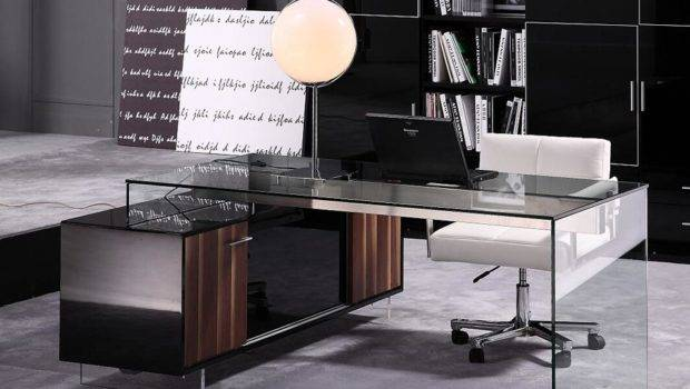 Contemporary Office Desk Thick Acrylic Cabinet Support Legs