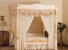 Contemporary White Canopy Bed Curtain Idea Mixed Wooden Chest