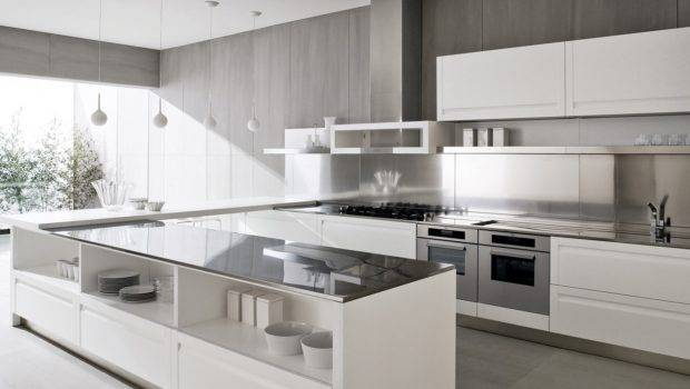 Contemporary White Kitchen Design Island Olpos